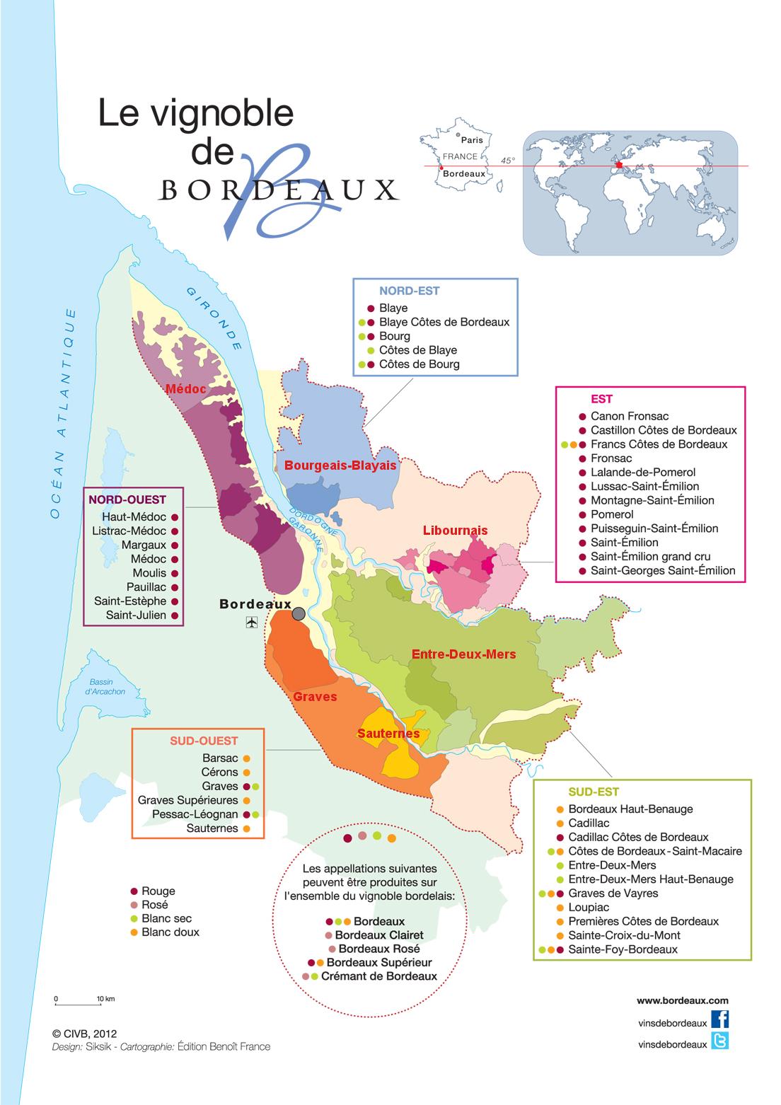Carte des appellations des vins de Bordeaux